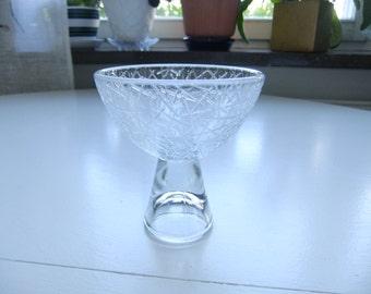 Vintage Swedish glass bowl on foot - Sticka Elme glass - 1950s
