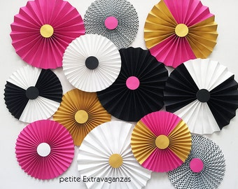 Kate Spade Inspired Paper Rosettes/ Paper Fans - Set of 12 - Bright Pink, Black, White, Gold