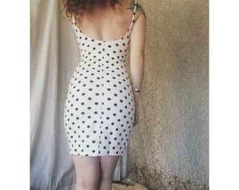 vintage polkadot bodycon dress S