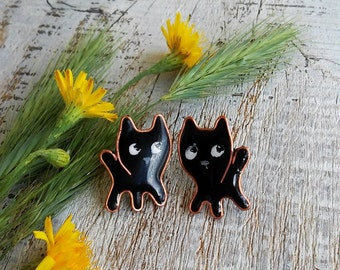 Black Cats Earrings, Cat Stud earrings, Small black earrings, Cat post earrings, Handmade Jewelry, Cat lover, Kawaii cats, Cut earrings,