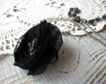 Black chiffon Ring, Goth Rring, Adjustable Statement Ring, Flower Ring