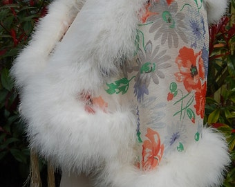 Vintage marabou feather trimmed chiffon cape 1930's fab poppies design flapper chiffon lining