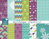70% Sale Teal and Purple Digital Papers - Joy of Life Scrapbooking, card design, invitations, stickers, background, paper crafts - INSTANT D