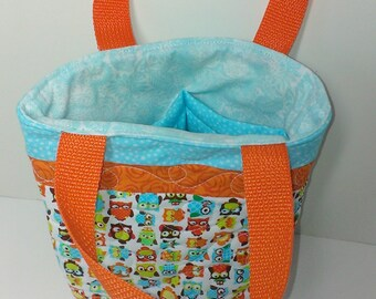 owl tote bag with slip pockets and quilted for extra protection