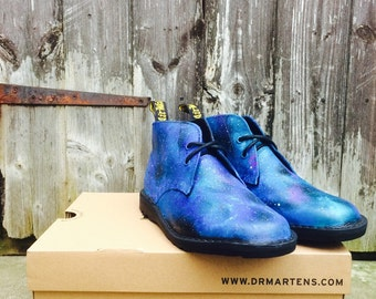 One off rare dr marten chukka destert boots, leather hand painted cosmic galaxy space print! Rare! Uk size 6.5!