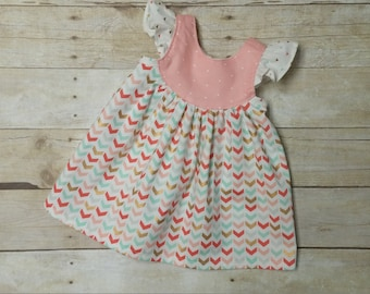 Coral, Gold and Mint Bohemian Boho Peasant Dress - Size 6-12 Month - Flutter Sleeve Dress - Girls Fall Dress - Butterfly Baby Dress