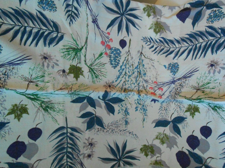 Vintage Barkcloth Print Fabric 46 Wide 1 1 3 Yard