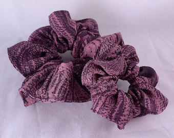 Silk hair scrunchie tie made with vintage kimono silk -  deep purple plum marble swirl pattern