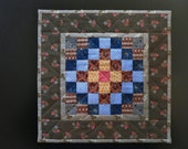 Trip Around the World  Miniature Doll Quilt *AnnMade* using antique fabrics