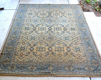 Antique Kilim Wool Rug Rare Blue Rose Taupe Village Loomed Center Seamed French Country Vintage Arts & Crafts Bungalow Cottage Farmhouse