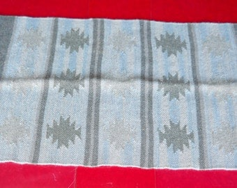 """Tribal Bungalow Gray Green Blue Wool French Country Vintage 1980s Woven Rug Runner Small 34"""" x 20"""" Arts & Crafts Cottage Farmhouse Primitive"""