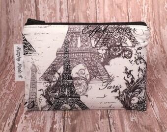 Eiffel Tower coin purse, coin pouch, change purse, small zipper pouch, gadget case, passport holder, Paris Eiffel Tower fabric, gift for her