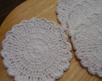 8 White Washcloths,  Flower Doilies, Dishcloths,  Facial Cloth, Hotpad, 100% Cotton, Crochet