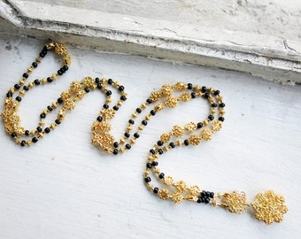 Antique Upcycled Tamborin in Silver Gold Plated Finish with Tiny Filigree Relikaryo Pendant and New Black Plastic Beads