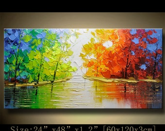 contemporary wall art, Palette Knife Painting,colorful tree painting,wall decor , Home Decor,Acrylic Textured Painting ON Canvas by Chen h92