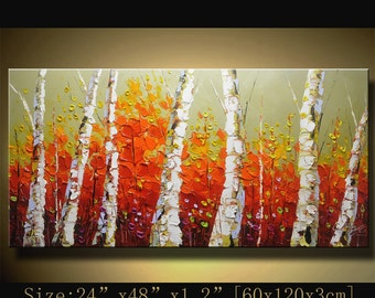 contemporary wall art,, Modern Textured Painting,Impasto Landscape Textured Modern Palette Knife Painting,Painting on Canvas byChen mm06