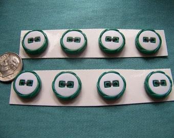 Set of 8 Vintage Green & White Buttons on Cards 5/8""