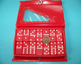 Set of Vintage Small Red Plastic Dominoes