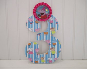 "Peppa Pig NUMBERS, NUMERALS - 18.00 per number, 8-1/2"", perfect birthday party decorations and for monthly or yearly birthday pictures"
