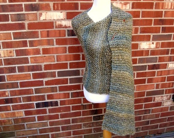 Olive Green Blue  Handmade Wrap Hand Knit Shawl