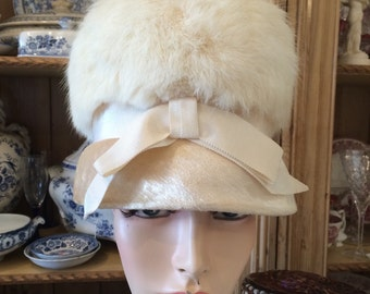 Vintage antique white fur vintage 1950s wedding bridal winter hat free shipping sale