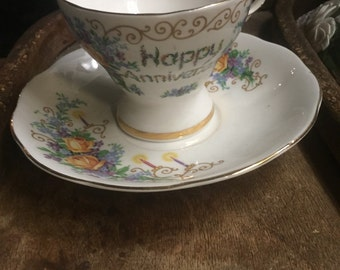 Vintage happy anniversary musical teacup and saucer tea cup midic box free shipping sale