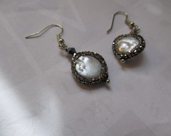 Mother of Pearl and Rhinestone  Earrings