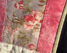 Baby Girl Quilt, Wheelchair Blanket, Pink, Taupe, Floral, Throw, Table Topper, Gift for Her, Gift for Elderly, Handmade in the USA