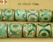 11.5 inch strand of Tibetan Agate dZi three eyes pattern smooth drum beads 14-15x12-15mm
