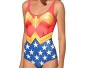Wonderwoman swimsuit. Wonderwoman body suit. Bathing suit Dance wear. Rave wear.  Red. Blue