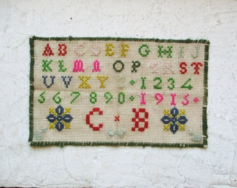 Antique french alphabet sampler,Vintage, Abecedaire 1915, Embroidery, France