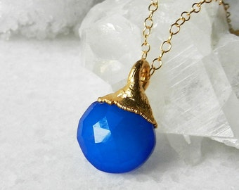 Blue chalcedony briolette necklace - Gold dipped - Pendant