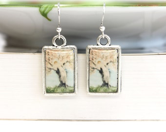 Art resin earrings double sided with Louis Icart fashion illustrations art