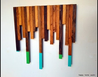 Scrap Wood Wall Art with Blue and Green Paint
