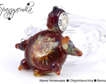 Fire Turtle - pendant Beads lampwork carapace implosion transparent - Charm with a large hole - 925 silver core