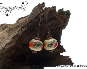 Sunrise - Earrings with lampwork beads ivory red copper