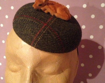 Tweed Deer Fascinator, dark green and red, handmade