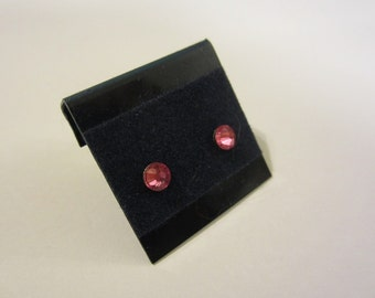 Newborn/Toddler Oct. Birthstone Pink Tourmaline Hypoallergenic Pierced Earrings