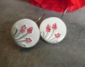 Ceramic Flower Dangle Earrings Round Pottery Red and White Floral Romantic Every Day Jewelry Eco Friendly