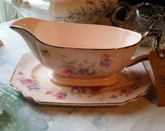 Glo Peche Ware by Limoges Gravy Boat and Underplate - The Pansey pattern - Made in Sebring, OH