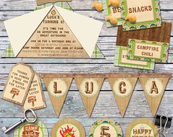 Camping Party - Camp-Out Party - Birthday Party Pack - Custom, Printable - Rustic, Greens & Browns, plaid - Vintage Inspired