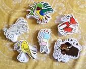 Vinyl Stickers - Yak, Fox, Finch, Ice Cream, Hummingbird, Shark, Outdoor, Indoor, Brown, Red, Orange, Gray, Green, Yellow, Blue