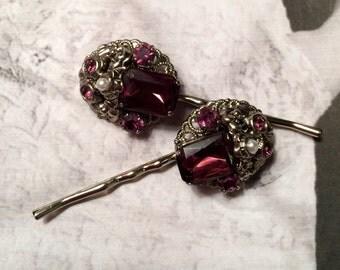 Decorative Hair Pins Jewelry 1940's Vintage Bridal West Germany Purple Amethyst Bridal Bobby Pins