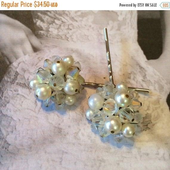 SALEWindyDays Decorative Hair Pin 1950's Crystal Pearl Bobby Pins