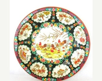 ON SALE Vintage Daher Decorated Ware Tin bowl with roosters copywright 1971 made in England Home Decor Roosters