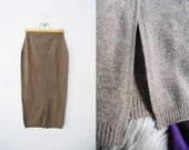 RESERVED/////Vintage 90s Cappuccino Wool Pencil Skirt Fitted Brown Knit Minimalist / Bandage / Womens Clothing / Midi