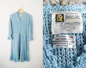 Vintage 1970s Baby Blue Crochet Knit Dress / Boho