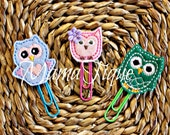 Owl Clips Owl bookmark Owl Planner Accessory Owl Planner Owl clip Animal Clip Bird Clip Planner Band Clip Set Pink Owl Green clip blue clip