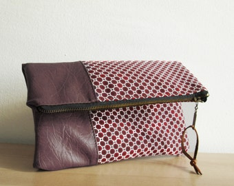 Fold over clutch purse, Clutch bag, Canvas and faux leather, Geometric, Foldover bag