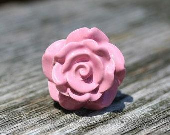Ceramic Drawer Knob  Drawer Pull Rose Drawer Pull Pink Drawer Knob  Ceramic Knob Antique Style Knob Cottage Decor Knob  Furniture Knob